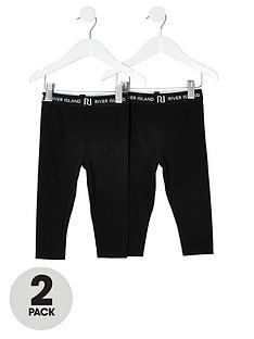 river-island-mini-mini-girls-2-pack-waistband-legging--black