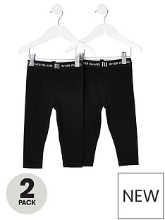 river-island-mini-mini-girls-2-pack-waistband-legging--black