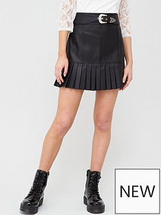 river-island-river-island-pu-western-belt-pleated-mini-skirt-black