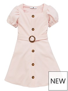 v-by-very-girls-button-front-dress-blush