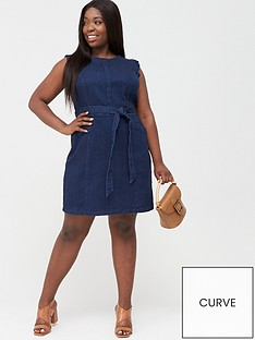 oasis-curve-frill-sleeve-dress-dark-wash