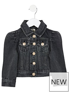 river-island-mini-mini-girls-puff-sleeve-denim-jacket-black