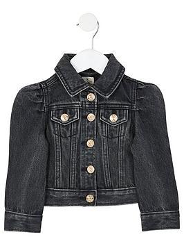 river-island-mini-mini-girls-puff-sleeve-denim-jacket-black