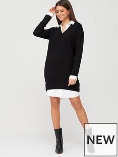 river-island-river-island-embellished-collar-knit-shirt-dress-black