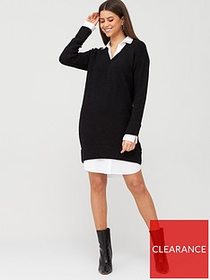 river-island-river-island-embellished-collar-knit-shirt-dress-black