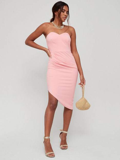 v-by-very-bandeau-belted-tux-dress-coral