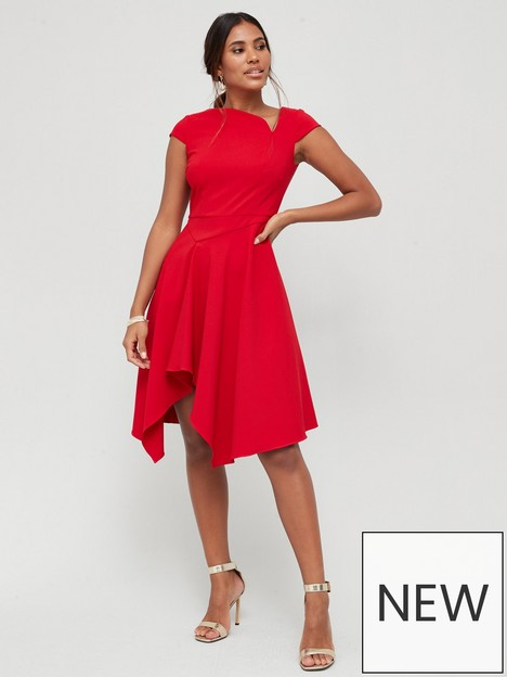 v-by-very-structured-neck-skater-dress-red