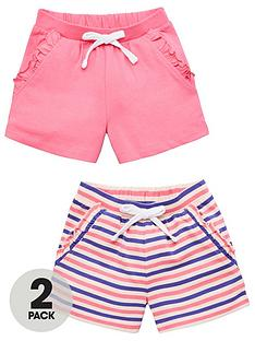 v-by-very-girls-2-pack-plain-andnbspstripe-shorts-multi