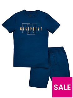 v-by-very-boys-2-piecenbspwestpoint-jersey-short-sleeve-t-shirt-and-shorts-set-teal