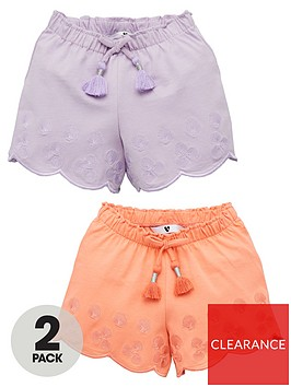 v-by-very-girls-2-pack-embroidered-shell-shorts-multi