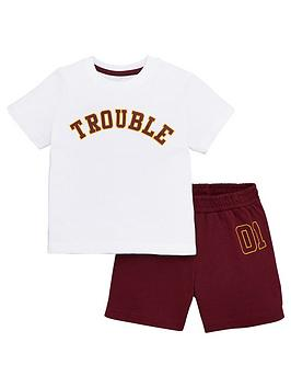 v-by-very-boys-fathers-day-trouble-short-pj-set-burgundy