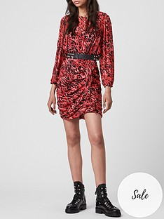 allsaints-barre-ambient-leopard-mini-dress-red