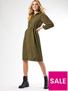 dorothy-perkins-puff-sleeve-midi-shirtdress-khaki