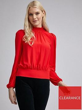 dorothy-perkins-shirred-neck-long-sleeve-top-ndash-red