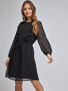 dorothy-perkins-petite-ruffle-dobby-fit-amp-flare-mini-dress-black
