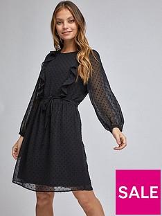 dorothy-perkins-petite-ruffle-dobby-fit-amp-flare-mini-dress-black