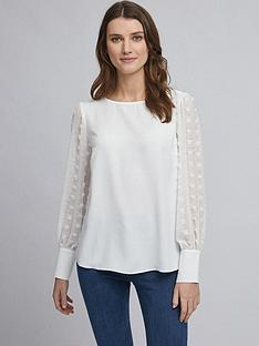 dorothy-perkins-flocked-spot-long-sleeve-top-ndash-white