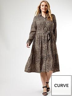 dorothy-perkins-curve-leopard-print-tie-neck-shirtdress-camel