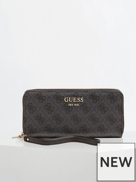 guess-vikky-zip-around-wristlet-purse-black
