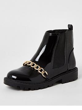 river-island-girls-patent-chain-boot-black