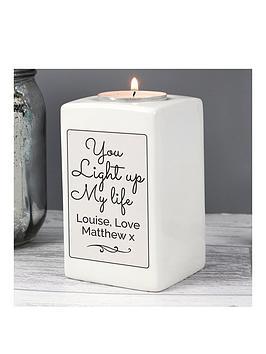 personalised-you-light-up-my-life-ceramic-tea-light-holder