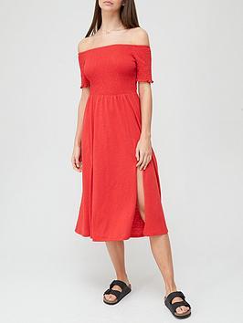 v-by-very-shirred-bardot-jersey-dress-rednbsp