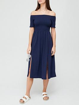 v-by-very-shirred-bardot-jersey-dress-navynbsp