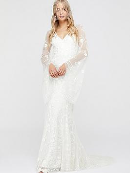 monsoon-evelina-bridal-embellished-flute-sleeve-dress-ivory