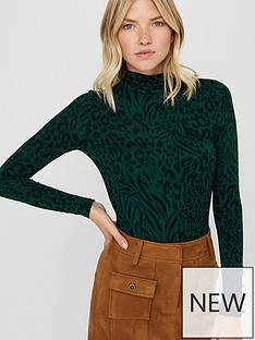 monsoon-andora-animal-print-polo-neck-jersey-top-green
