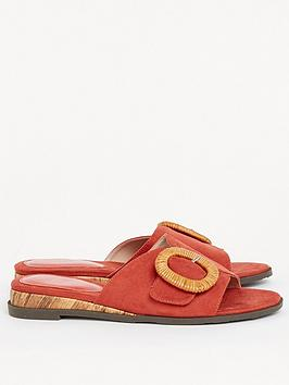 evans-extra-wide-fit-wooden-buckle-sliders-red