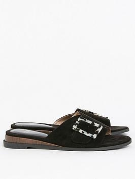 evans-extra-wide-fit-wooden-buckle-sliders-black