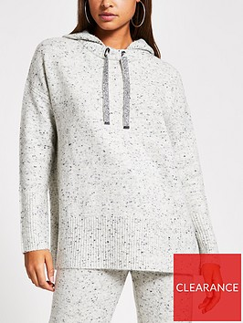river-island-river-island-diamante-drawstring-knitted-hoody--grey