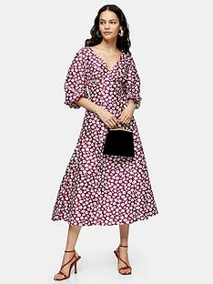 topshop-balloon-sleeve-smock-midi-dress-blue