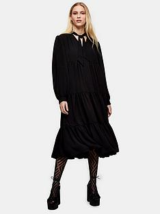 topshop-tiered-chuck-on-midi-dress-black