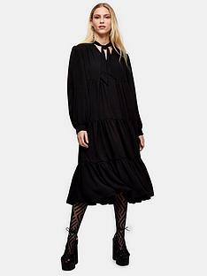 topshop-tiered-chuck-on-midi-dress-black
