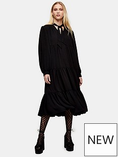 topshop-topshop-tiered-chuck-on-midi-dress-black