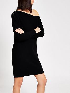 river-island-off-the-shoulder-knitted-dress-black