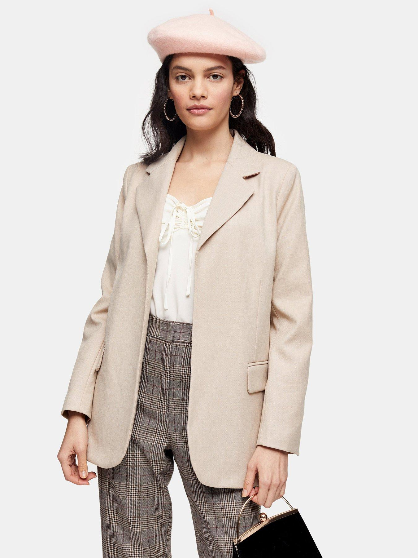 Stone Size 12,14 UK Ladies New Fitted Double Breasted Tie Belt Blazer In White