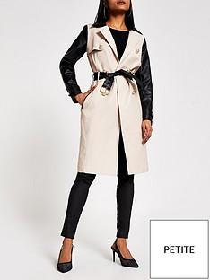 ri-petite-pu-sleeve-trench-coat-beige