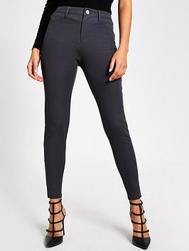 river-island-molly-mid-rise-skinny-trousers-grey