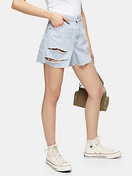 topshop-ripped-denim-mom-shorts-blue