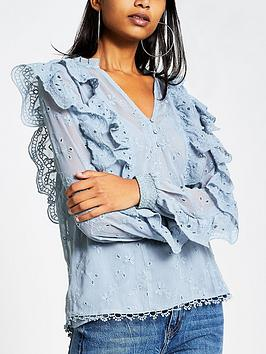 river-island-river-island-v-neck-frill-detail-blouse-blue
