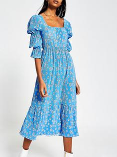 river-island-square-neck-floral-plisse-midi-dress-blue