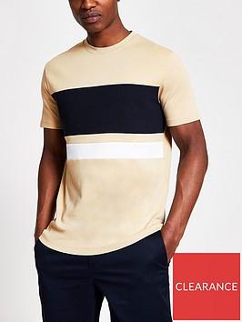 river-island-short-sleeve-texture-horizontal-blocking-t-shirt-brown