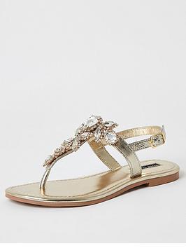 river-island-river-island-embellished-leather-thong-sandal-gold