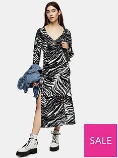 topshop-topshop-zebra-ruch-sleeve-midi-dress-mono