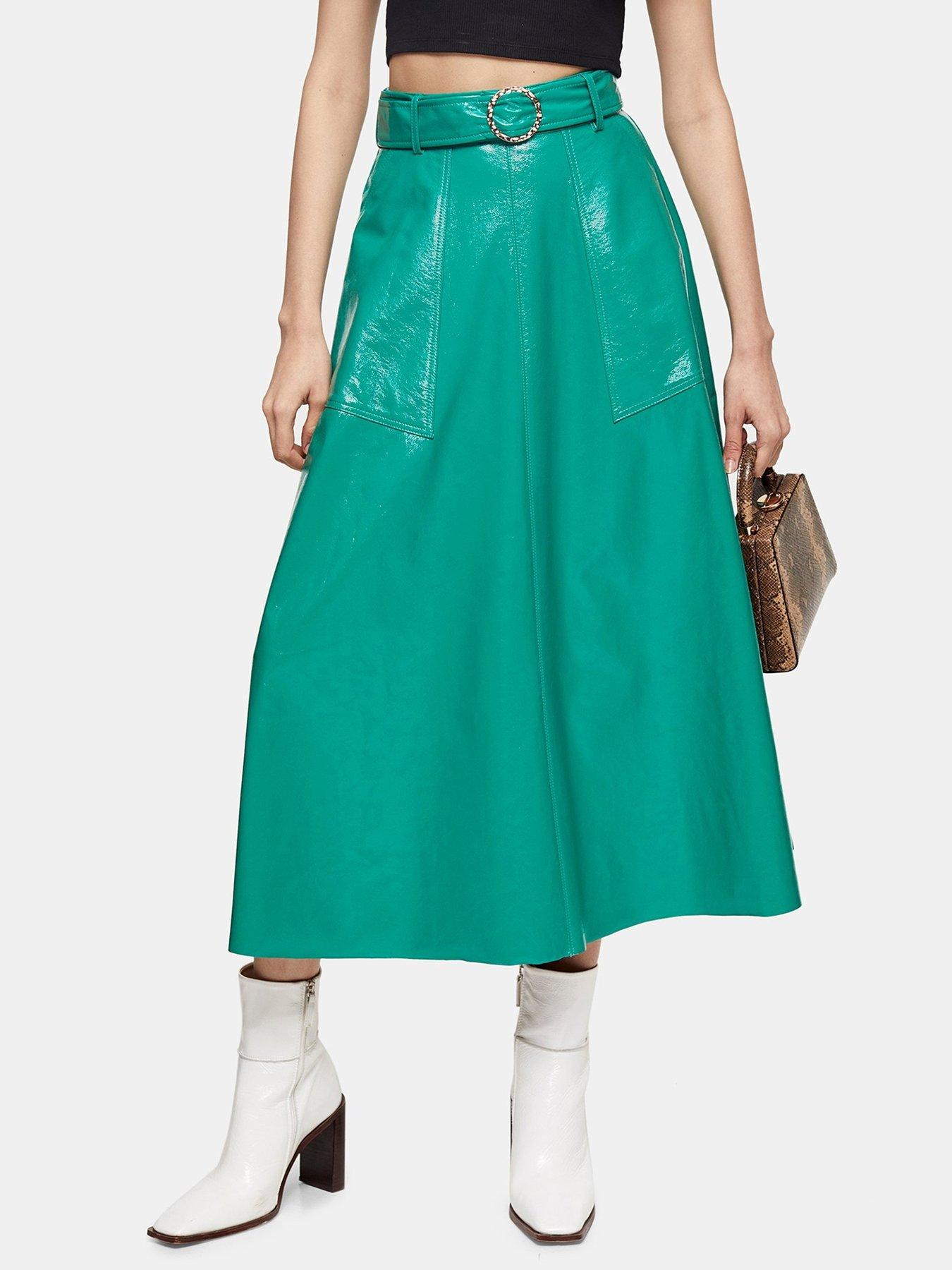 Miss Blush Black Faux Leather Wrap Skirt Size 10