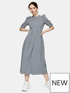 topshop-topshop-gingham-puff-sleeve-midi-dress-navy