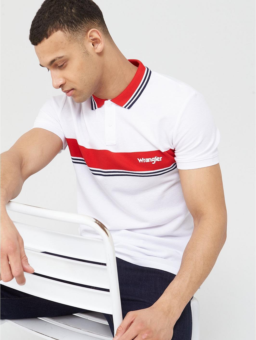Wrangler Colour Block Stripe Polo Shirt - White nmHNaM