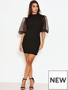 ax-paris-puff-sleeve-bodycon-dress-black